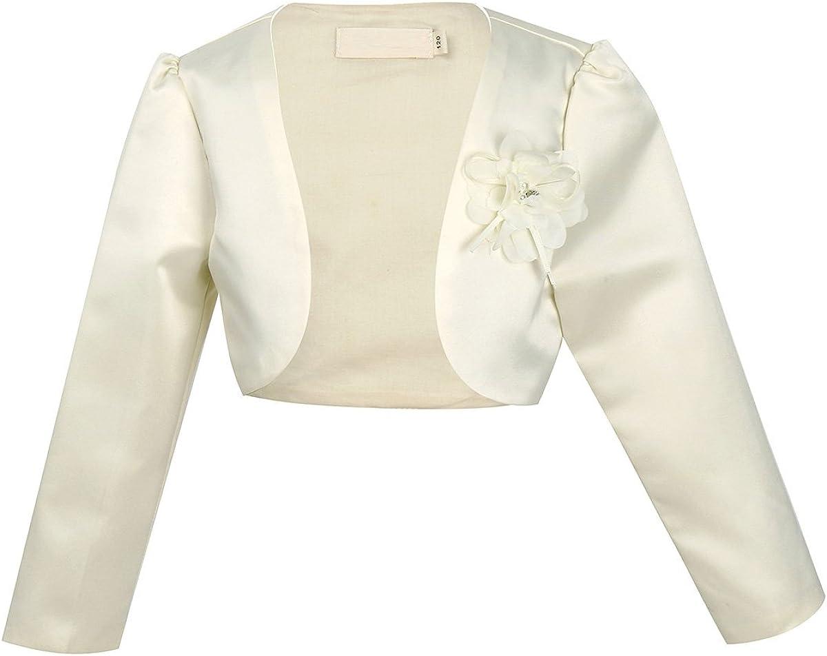 CHICTRY Children Girls Stain Flower Long Sleeves Dresses Bolero Jacket Wedding Party Princess Shrug Accessories