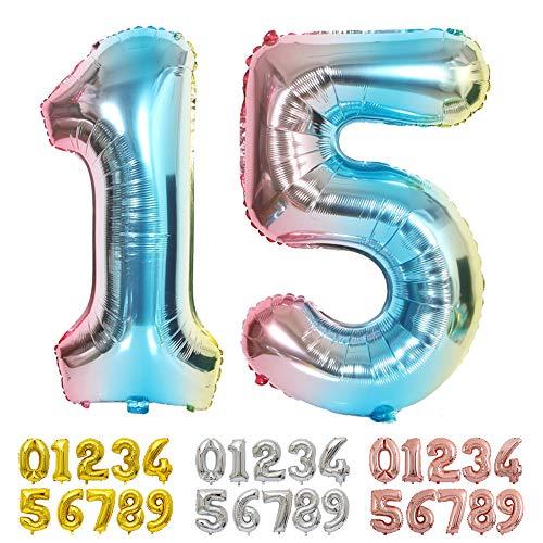 Ponmoo Blau Luftballon Zahlen 15 / 51 0 1 2 3 4 5 6 7 8 9 10 to 30 40 50 60 Riesige Folienballon Zahl Geburtstagsdeko, Deko zum Geburtstag Folienluftballons Dekoration Birthday Heliumdeloono