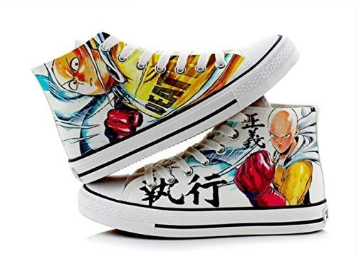 pZgfg Canvas Shoes Unisex Anime Cos One Punch Man Shoes Saitama Lässige 3D-Leinenschuhe Aus Segeltuch Mit Seilsohlen 37