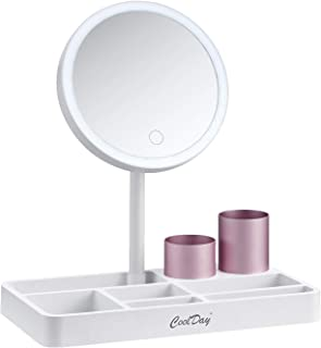 COOLDAY Lighted Makeup Mirror - 6.8'' Vanity Mirror with Makeup Organizer Tray, Adjustable Natural Light, Touch Screen Ste...