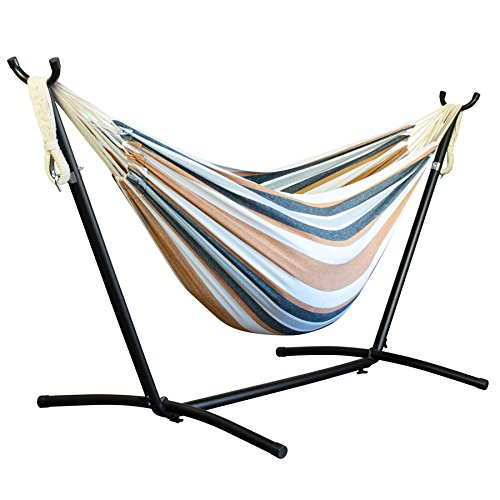 Driftsun Double Hammock with Steel Stand - Space Saving Two Person Lawn and Patio Portable Hammock with Travel Case (Rainbow)