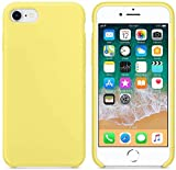 Funda de Silicona Silicone Case para iPhone SE 2020, iPhone 7, iPhone 8, Tacto Sedoso Suave, Carcasa Anti Golpes, Bumper, Forro de Microfibra (Amarillo Limón)