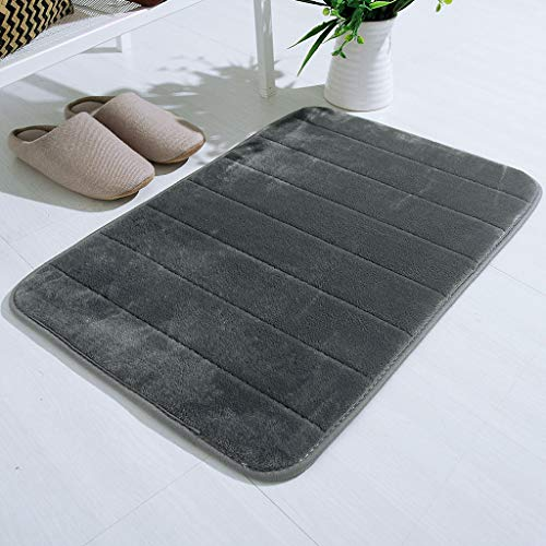 """Memory Foam Bath Mat Large Size 17""""X 24"""", Soft and Comfortable, Super Water Absorption, Non-Slip, Thick, Machine Wash, Easier to Dry for Bathroom Floor Rug (Gray)"""