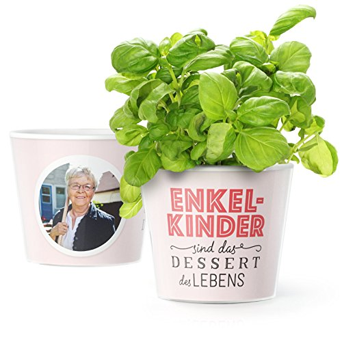 Facepot Oma Enkel Geschenk Blumentopf (ø16cm) mit Bilderrahmen für Zwei Fotos (10x15cm) | Enkelkinder sind das Dessert des Lebens