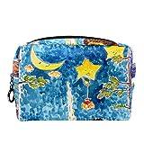 Bolsa de cosméticos para Mujeres Muñeco de Nieve del árbol de la Hoguera de la Estrella de la Luna Bolsas de Maquillaje espaciosas Neceser de Viaje Organizador de Accesorios