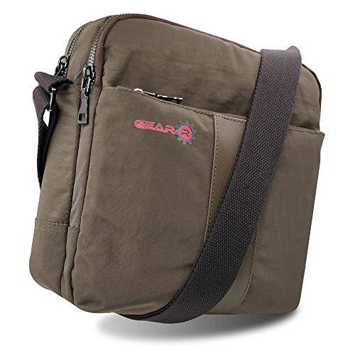 Gear-R - Messenger Sling Crossbody Bag 420D Nylon para oficina viajes negocios se adapta a 10 '11' Ipad Tablet Surface Laptop (marrón)