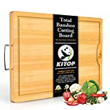 Large & Extra-Thick Bamboo Cutting Boards For Kitchen with Juice Groove-VUMM Organic Heavy Duty Chopping Board for Meat/Vegetables Fruits Serving Tray, Butcher Block, Carving Board, BPA Free