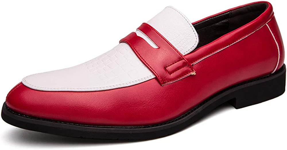 HuitJours Men Two Tone Penny Loafer Blue Challenge the lowest price Slip Colors On Ranking TOP5 Red