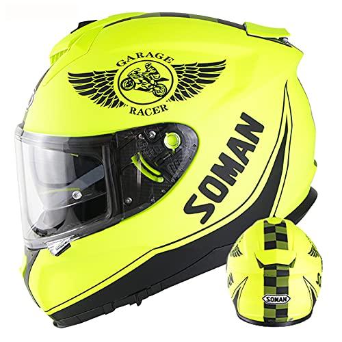 WEW Casco Integral de Moto Cascos de ciclomotor de Scooter para Adulto de Doble Lente Amarillo Mate Casco Protector Casco de cercanías para Hombres & Mujeres · Certificado ECE,A,57~58cm M