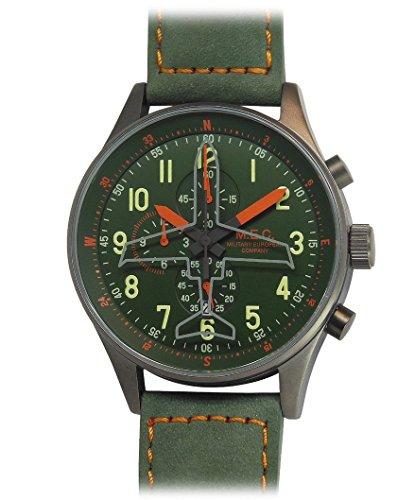 Armbanduhr Herren Vintage Quarz MEC Chronograph Stahl Militär Taucher Sport