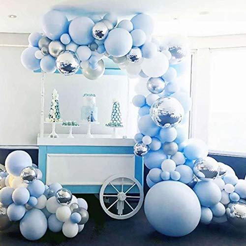 Bellatoi 122Pcs Kit Ghirlanda Palloncino Kit Arco Palloncini blu Bianca per Compleanno Sfondo di Nozze Decorazione per Feste