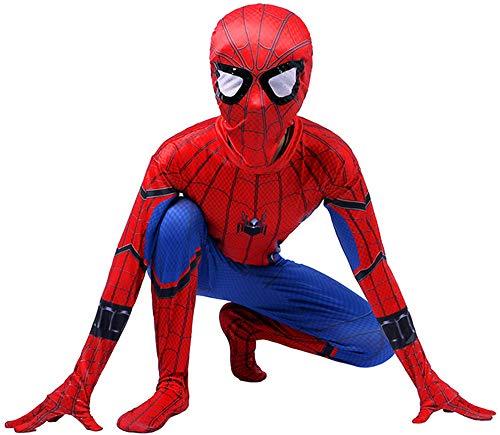Niño Spiderman Traje, Homecoming Disfraz Halloween Carnaval Superheroe Spider-man Cosplay Suit 3D Print Spiderman Traje,D-XS(102~112)