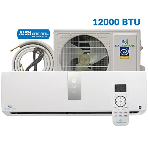 Kaussmann 12000 Btu (1 Ton) Inverter Ductless Mini Split, Air Conditioner, Heat Pump, Heating, Cooling, Dehumidification, Ventilation. Comes with 15 Feet Installation Kit. 110~120 Vac