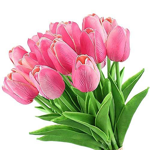 LUCY WEI Ramo de flores artificiales de tulipán con 12 tallos de flores artificiales de tacto real, decoración perfecta para bodas, fiestas, hogar, jardín, oficina (blanco)