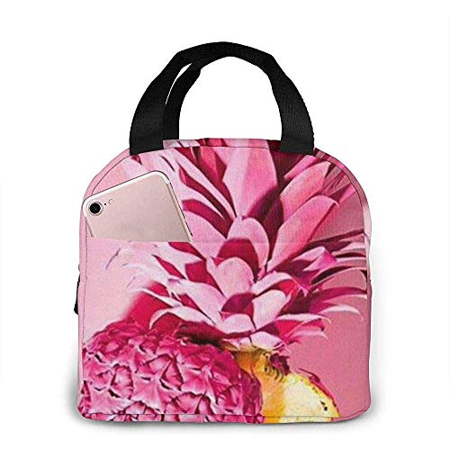 Yuanmeiju Portable Insulated Lunch Bags Pink Folded Pineapple Lunch Box for Women and Men