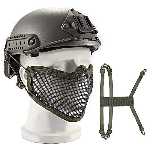 Wwman Wwan Airsoft Mesh Maske Militär Tactical Untergesicht Schutzmaske Tactical Half Steel Mesh Face Mask Protection Two Wege to Use - OD