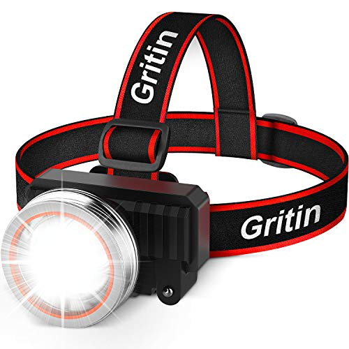 Lampada Frontale LED, Gritin Super Luminoso Torcia...