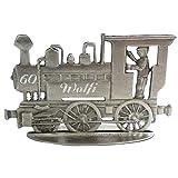 Zinngeschenke Lokomotive patiniert aus Zinn als stehende Figur mit Ihrer Wunschgravur, siehe Produktbeschreibung. (LxH) 7,5 x 4,0 cm Eisenbahn mit Gravur, Lokomotive Modell, Eisenbahn Figuren -