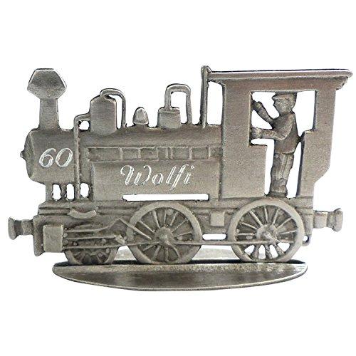 Zinngeschenke Lokomotive patiniert aus Zinn als stehende Figur mit Ihrer Wunschgravur, siehe Produktbeschreibung. (LxH) 7,5 x 4,0 cm Eisenbahn mit Gravur, Lokomotive Modell, Eisenbahn Figuren