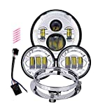 TRUCKMALL 7 inch LED Headlight, 4.5'' Fog Passing Lights, with Mounting Ring for Harley Davidson Touring Road King Ultra Classic Electra Street Glide Tri Cvo Heritage Softail Slim Deluxe Fatboy Chrome