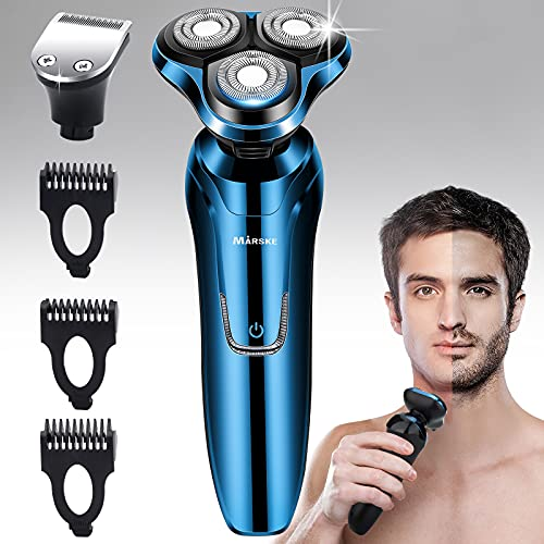 Vifycim Electric Razor, Mens Electric Shavers, Dry Wet Waterproof Rotary Facial Shaver, Portable Face Shaver Cordless Travel USB Rechargeable with Hair Clipper for Shaving Husband Dad