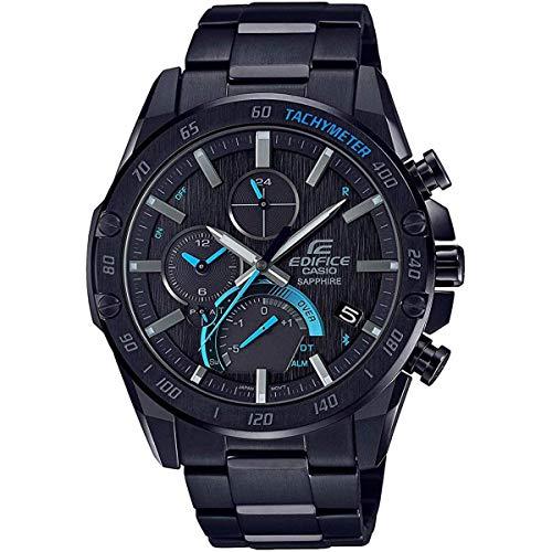 Men's Casio Edifice Super Slim Black Stainless Steel Chronograph Smartphone Link Watch EQB1000XD-1A EQB1000XDC-1A