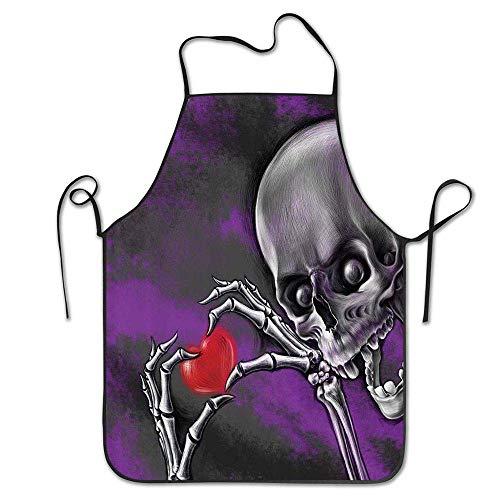 Cintura Esqueleto espeluznante y aterrador Amor eterno Símbolo de San Valentín Corazón en su cráneo deshuesado Delantal de manos Delantal de babero casero para mujeres Hombres Chica Niños Regalos Deco