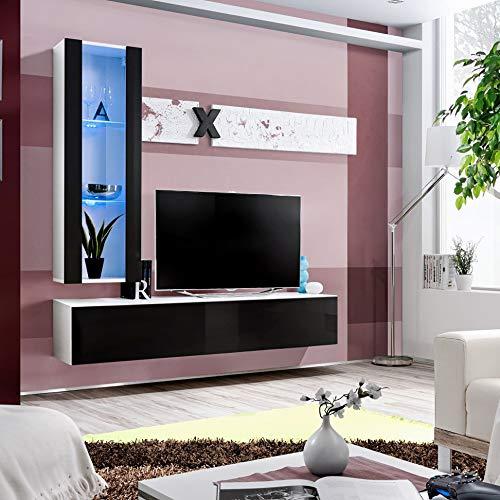 MAS Air H2 - Mueble de pared (160 cm de ancho), diseño de puertas de cristal, color blanco y negro