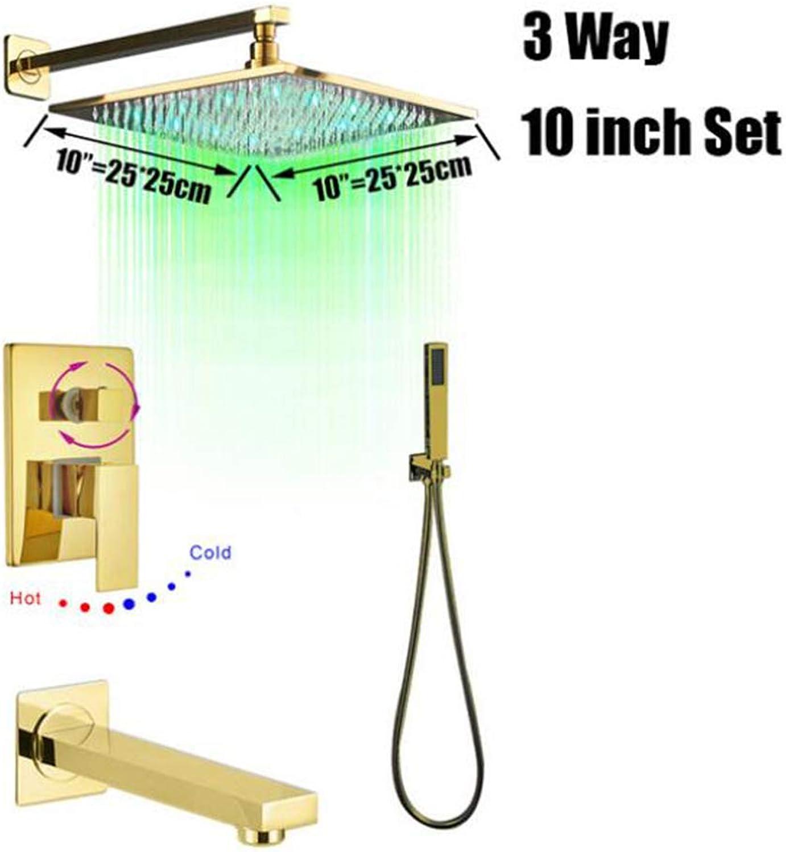 MICHEN Grünckte Goldene Bad Dusche Wasserhahn Wandmontierte LED Bad Dusche Wasserhhne Gold Regendusche Kopf Badewanne Auslauf Handbrause Sets,StyleC10Inch