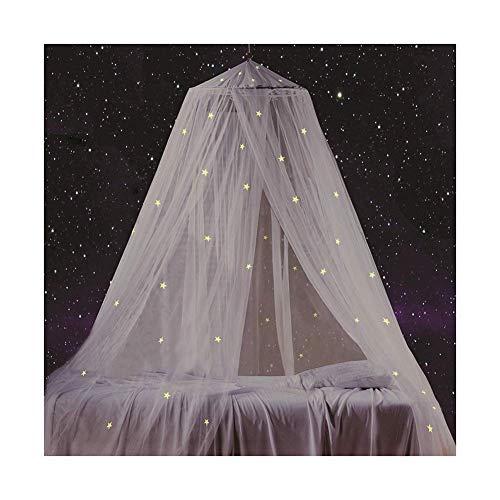 Kyman Cortina de cama con estrellas fluorescentes que brillan en la oscuridad para bebés, niños, niñas o adultos, antimosquitos como mosquitero para cubrir la cama de niños, tela ignífuga, color negro