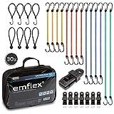 emflex® GS-MAX Profi Spanngummi Set [30 Stück] mit Haken inkl. 8x Expander-Schlingen & 8x...