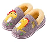 DADAWEN Toddler Boys Girls Soft Plush Furry Slippers Cozy Cute Cartoon Indoor Outdoor Comfy Warm House Shoes Pinkish Purple US Size 9-9.5 Toddler