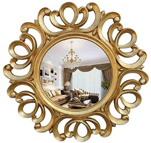 UP6Per Espejo de Pared Redondo, Espejo de Sol Colgante de Pared Retro, decoración para Pasillo baño de baño y Dormitorio Adorno de Marco de Oro (Size : 63cm)