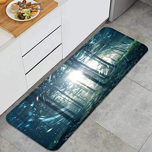 AndrewTop Cocina Antideslizante Alfombras de pie Fantasía Azul Verde Bosque de Niebla Cuento de Hadas con círculo Decoración de Piso Confortables para el hogar, Fregadero, lavandería-120cm x 45cm