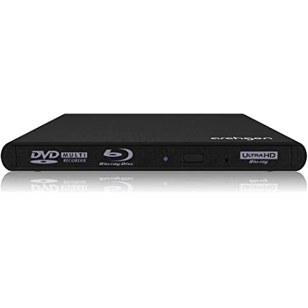 Archgon USB 3.1外付けCD/DVD/Blu-ray/UHDドライブUltra HD 4K コンテンツUHD BD 再生対応 ブルーレイ ドライブ アルミ製筐体 ポータブル 保護ケース付きWindows/Mac 両対応 USB-A, USB-C ケーブル両方付属されています (Style UHD HLDS BU40N USB A + USB C ケーブル, ブラック)