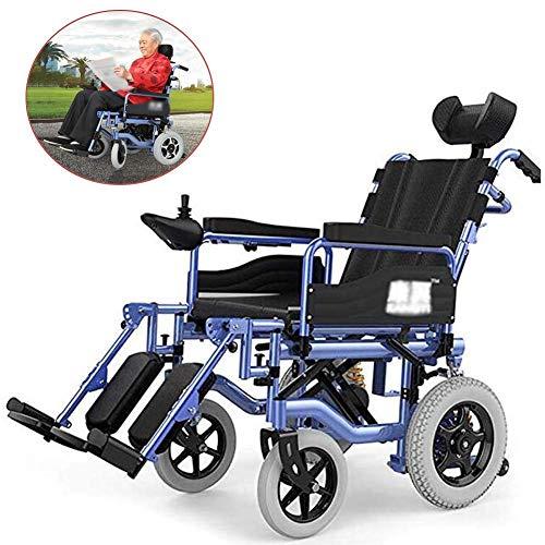 AOLI Elektro-Rollstuhl faltbare Leichte Kopfstütze, Elektro-Rollstuhl, Mobil Stuhl, Sitzbreite 45 cm, verstellbare Rückenlehne und Pedalwinkel, 360 ° Joystick, 34kg für Behinderte Senioren, 150 Kg