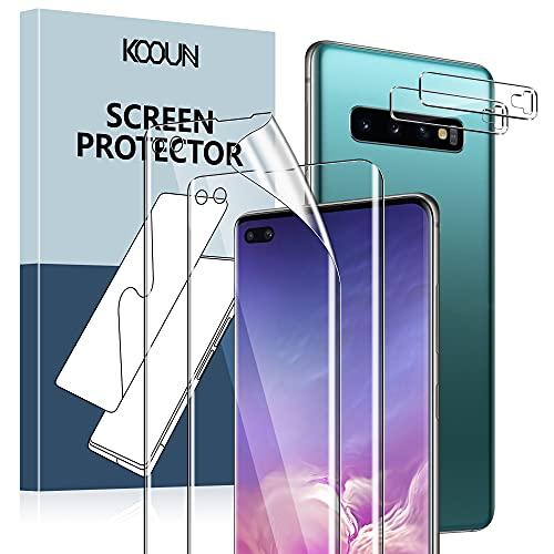 KOOUN Schutzfolie Kompatibel mit Samsung Galaxy S10 Plus (6.4 zoll), Enthalten 2 Stück Kamera Panzerglas und 2 Stück TPU Weichfolie (Nicht Glas), Fingerabdruck-ID Unterstützen