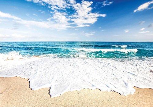 ForWall Fototapete Vlies - Tapete Moderne Wanddeko Strand und Friedliche Ozean VEXXXL (416cm. x 254cm.) AMF10218VEXXXL Wandtapete Design Tapete Wohnzimmer Schlafzimmer