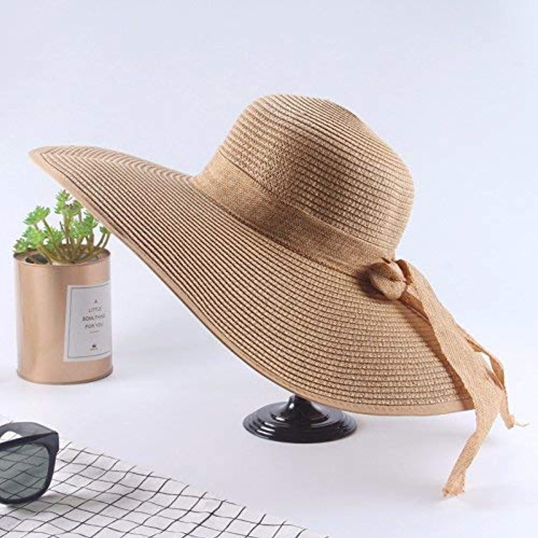 Beach Hat Ladies Summer Sun Hat Straw hat Outdoor Foldable Beach,Wide Brim Brown Summer Sun Hat