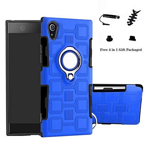 LFDZ Sony Xperia XA1 Hülle, 360 Rotation Verstellbarer Ring Grip Stand,Ultra Slim Fit TPU Schutzhülle für Sony Xperia XA1{Not fit XA1 Ultra} (mit 4in1 Geschenk Verpackt),Blue