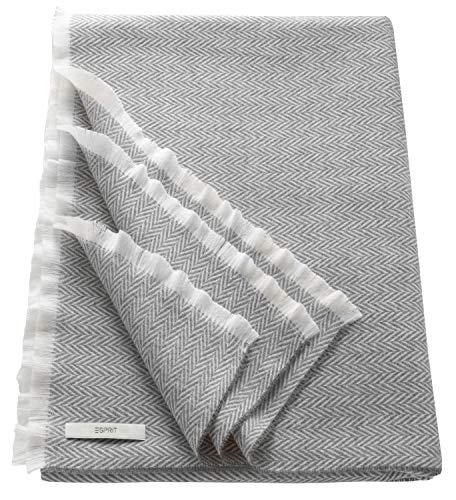 ESPRIT Herringbone Sommerdecke Grau • Leichte Tagesdecke 150 x 180 cm • sehr weich & leicht zu pflegen • In Deutschland hergestellt