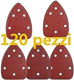 Carta Abrasiva 120 Pezzi, TECCPO Allumina Carta Abrasiva a Strappo per Levigatrice Mouse, Grana da 24 X 60/80/120/180/240, 140×98mm a 6 Fori, per Levigatura, Lucidatura, Spolveratura - TASP31A