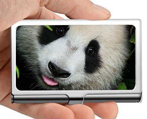 Estuche para tarjetas de visita con nombre comercial, funda de tarjeta de visita con soporte de tarjeta de visita de panda animal de peluche (acero inoxidable)