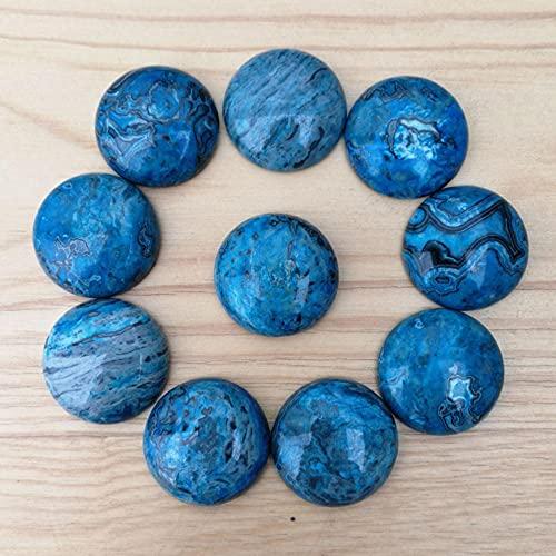 AIDEMEI Piedra De Ónix Azul Natural 25 Mm Cuentas Redondas De Cabujón Océano Azul Para La Fabricación De Joyas Envío Gratis 12 Piezas