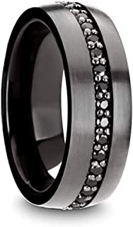 Thorsten Pilot | Tungsten Rings for Men | Tungsten | Comfort Fit | Gunmetal Wedding Ring Band with Black Sapphires - 8mm