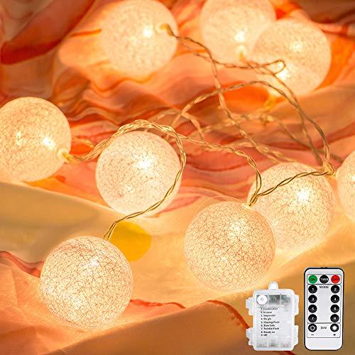 Vegena LED Lichterkette Cotton Balls,3M LED Lichterkette mit 20 Baumwollkugeln Batteriebetriebene mit Fernbedienung 8 Modi Deko für Garten,Weihnachten, Bäume, Hochzeiten, Partys Innen und außen