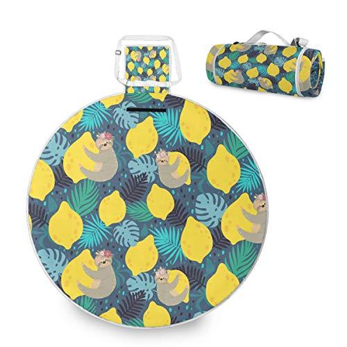 Manta grande para picnic al aire libre, linda estera de limones para picnic familiar camping playa parque, asa redonda de 59 pulgadas