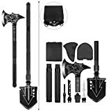 TST-Well Folding Survival Shovel Camping Axe Set, Multitool Tactical Camping Shovel Military,Portable Survival Hatchet Axe with Sheath for Outdoor Backpacking Hunting Fishing