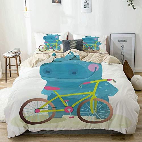 Juego de funda nórdica beige, hipopótamo, niño con bicicleta colorida, divirtiéndose haciendo deportes, ilustración gráfica, estampado, juego de cama decorativo de 3 piezas con 2 fundas de almohada, f