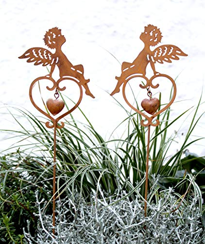 LB H&F Lilienburg Weihnachtsdeko Roststecker Rost Metall wetterfest (Engel/Herz)